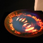 "FireBowl, digital animation on clay, 22"" diameter, 2006."