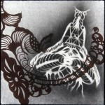 """Flyingfish insect, lithography and stencil on Mulberry, 10""""x10"""", 2004."""
