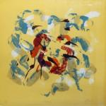 "Shedding, silkscreen, 12"" x 12"", 2002."