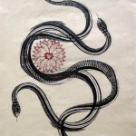 "Twosnakes flower, lithography and chine colle on BFK, 15""x11"", 2009."